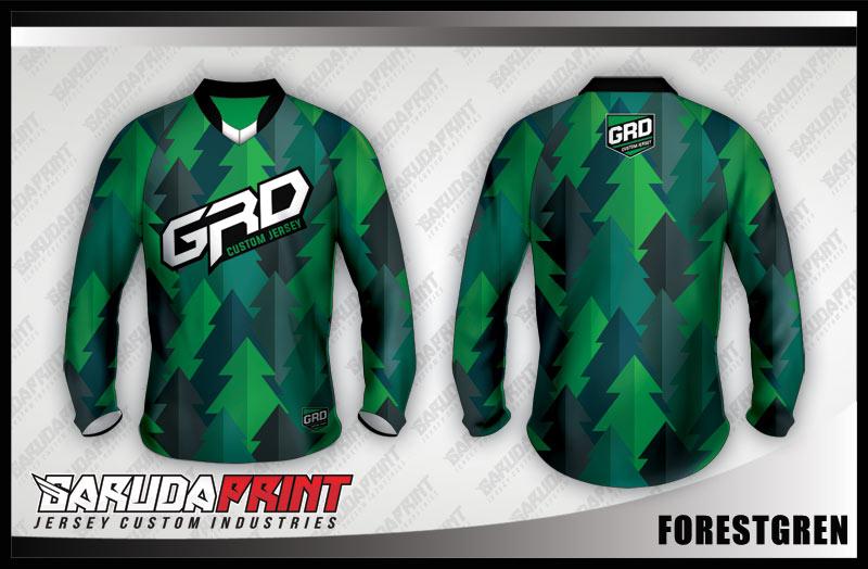 desain baju sepeda downhill hijau