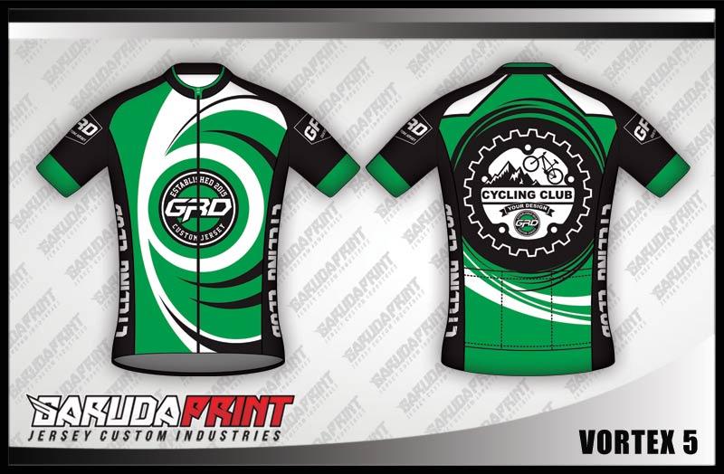 Desain Kaos Sepeda Gowes Vortex Paling Keren hijau hitam