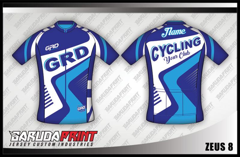 Desain Kaos Sepeda Gowes Zeus biru muda Super Keren
