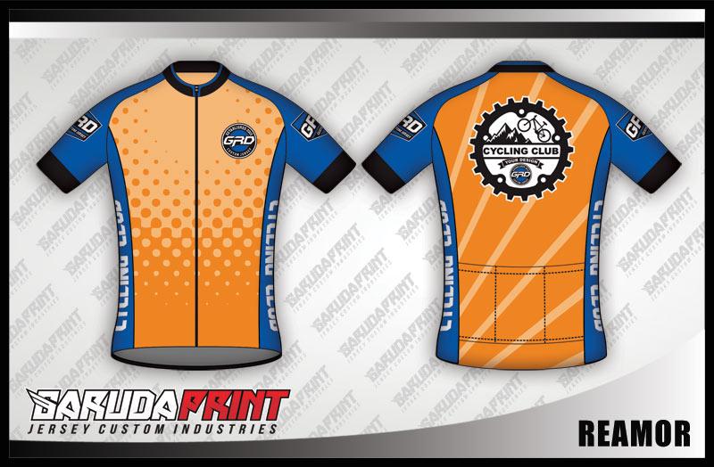 Desain baju sepeda gowes warna orange