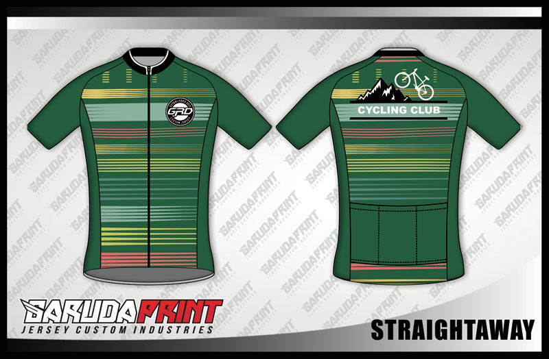 Desain Jersey Sepeda Road Bike Kode Straightaway Hijau Army