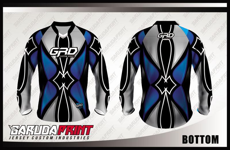 Desain Baju Sepeda Downhill Code Bottom Warna Biru Abu Abu Yang Keren