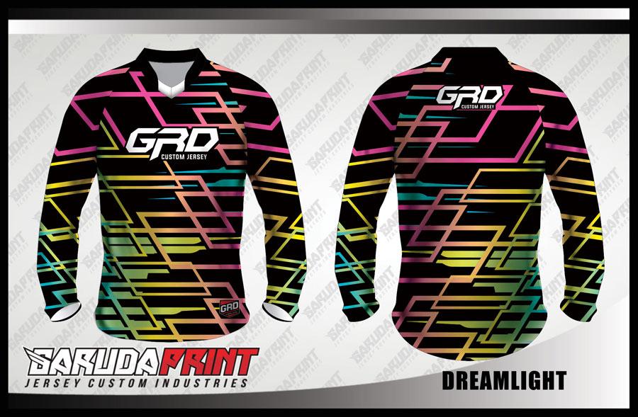 Desain Baju Sepeda Downhill Code Dreamlight Motif Garis Garis Menyala