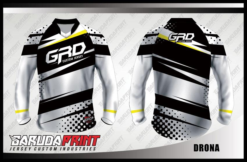 Desain Baju Sepeda BMX Code Drona Warna Putih Hitam Yang Keren