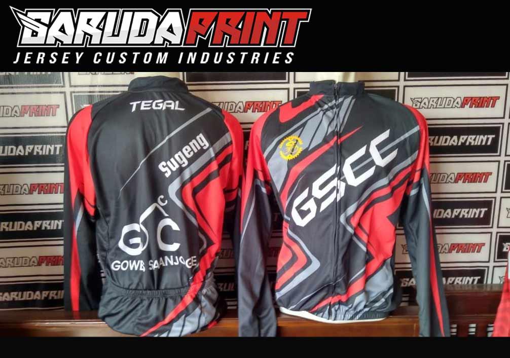 Kaos Sepeda Full Print Lengan Panjang Warna Merah Hitam Putih