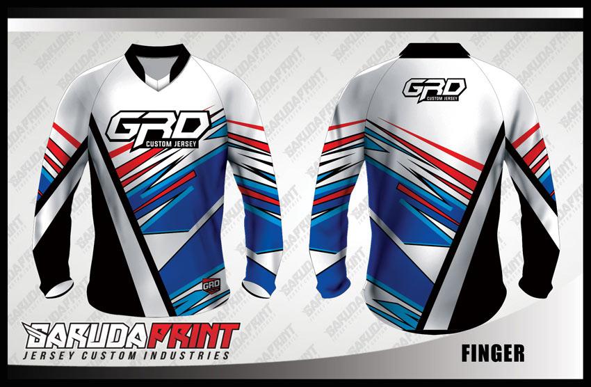 Desain Baju Sepeda BMX Code Finger Warna Putih Yang Elegan