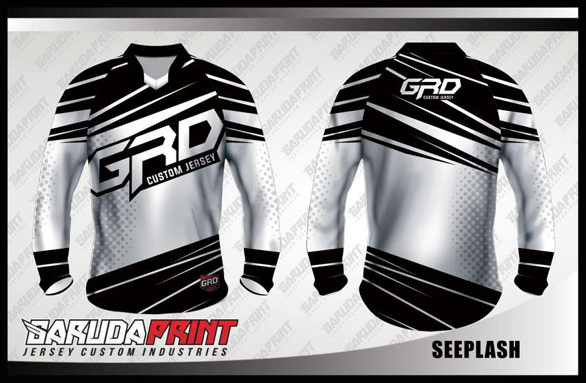 Desain Jersey Sepeda BMX Full Print Code Seeplash Warna Hitam Putih