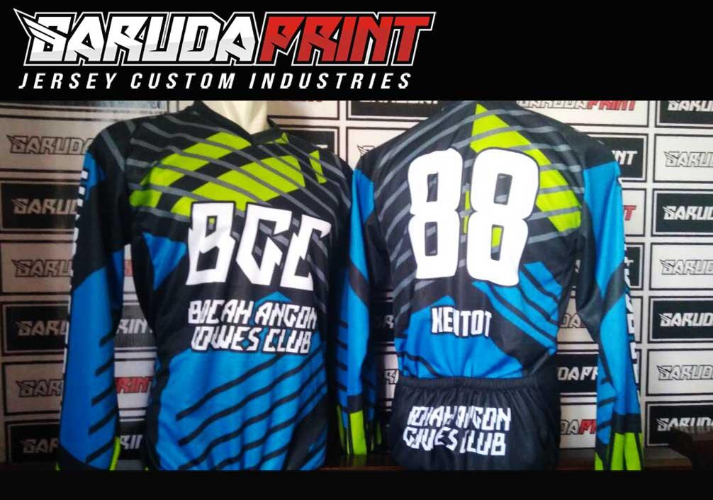 Baju Sepeda Full Print Lengan Panjang Warna Biru Hijau Paling Gagah