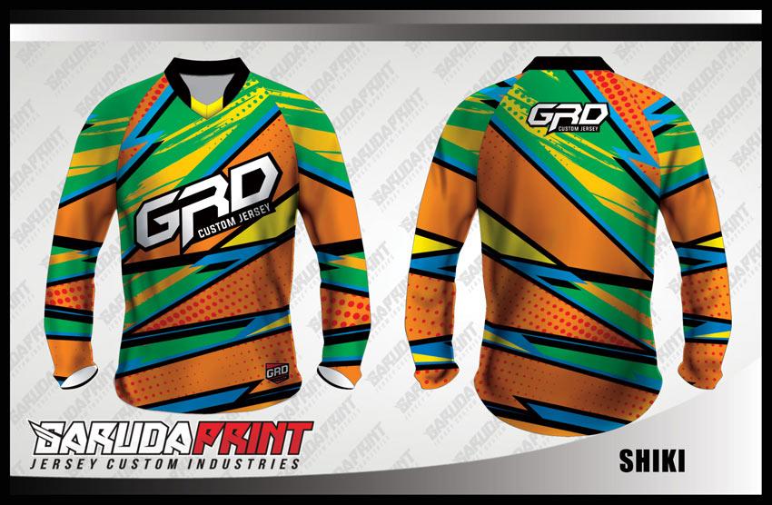 Desain Jersey Sepeda MTB Code Shiki Warna Hijau Orange Motif Zig Zag