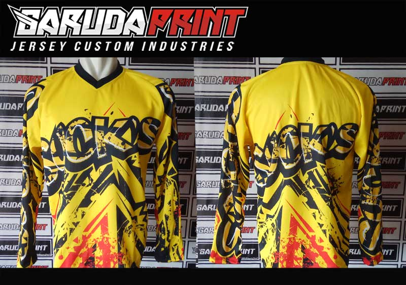 Kaos Sepeda Full Print Lengan Panjang Warna Hitam Coklat Abu Nampak Gagah