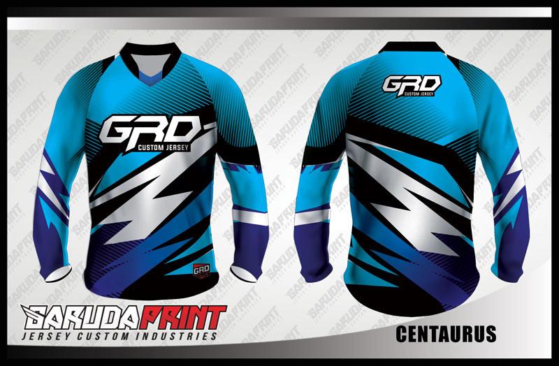 Baju Sepeda Full Print Warna Biru Motif Zig Zag Diagonal