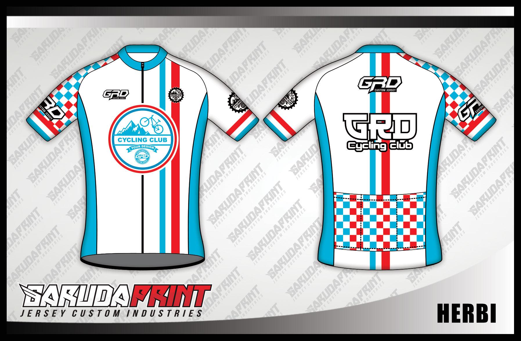 Jersey Sepeda Printing Warna Putih List Merah Biru Yang Trendy