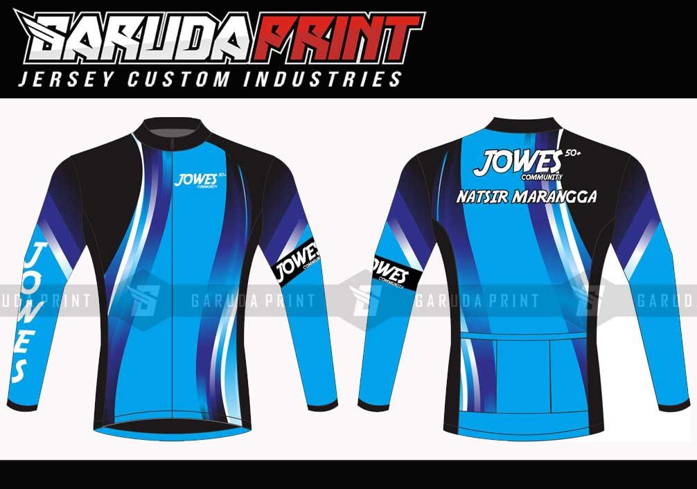 Baju Sepeda Printing Warna Biru Putih Paling Istimewa