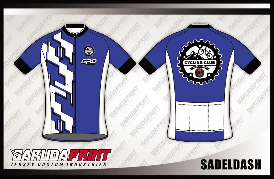 Jersey Sepeda Full Print Warna Biru Putih Tampil Elegan