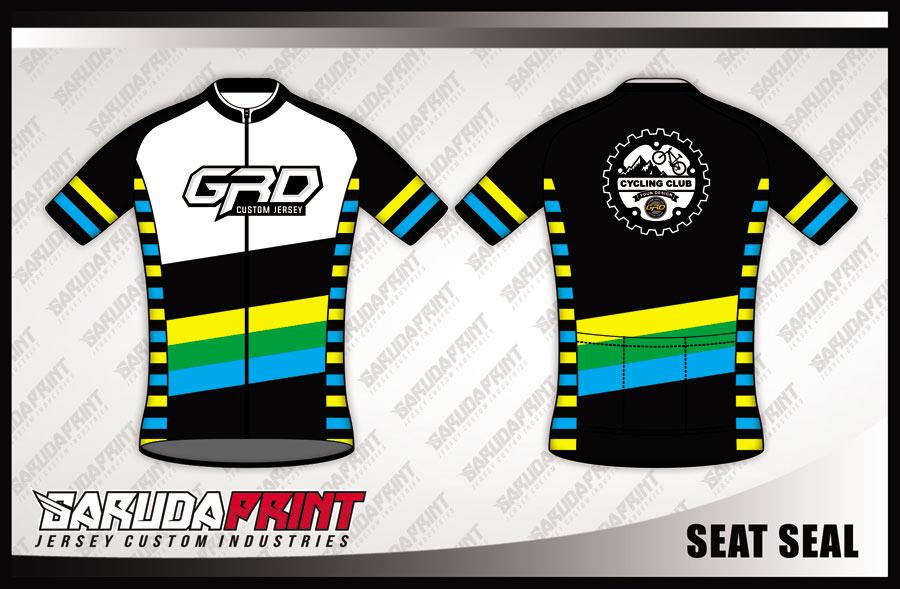 Jersey Sepeda Printing Warna Hitam Putih Lengan Pendek Yang Trendy