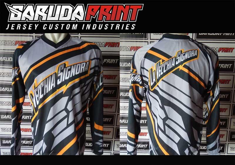 Baju Sepeda Full Print Warna Hitam Putih Favorit