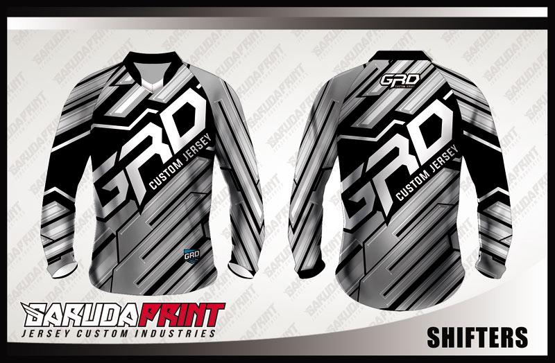 Jersey Sepeda Full Print Warna Hitam Abu-Abu Modern