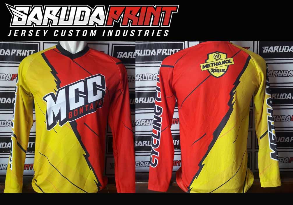 Kaos Sepeda Full Print Lengan Panjang Warna Hitam Putih Kuning Terbaru