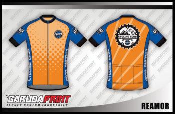 Desain Baju Sepeda Gowes Reamor Warna Orange Cerah