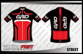 Desain Kaos Sepeda Road Bike Kode Street Kombinasi Merah Hitam