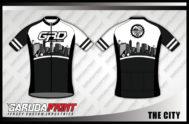 Desain Baju Sepeda Gowes Code The-City Motif Hitam Putih