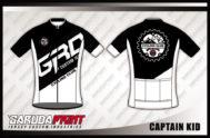 Desain Kaos Sepeda Road Bike Kode Captain Kid Kombinasi Hitam Putih