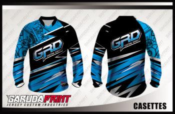 Desain Kaos Sepeda Printing Code Casettes Warna Biru Hitam Yang Elegan