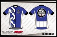 Desain Kaos Sepeda Road Bike Code Sadeldash Warna Biru Putih List Hitam