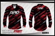 Desain Jersey Sepeda MTB Code Garmis Gradasi Warna Merah Hitam