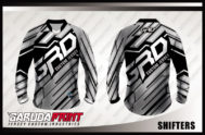 Desain Kaos Sepeda Gunung MTB Code Shifters Warna Hitam Abu Abu