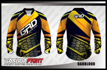 Kaos Sepeda Printing Warna Hitam Kuning Motif Zig Zag Terbaru