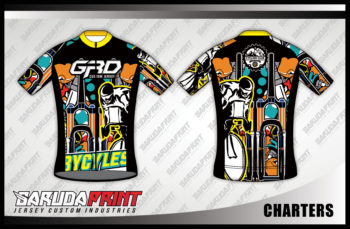 Jersey Sepeda Full Print Lengan Pendek Warna Hitam Yang Macho