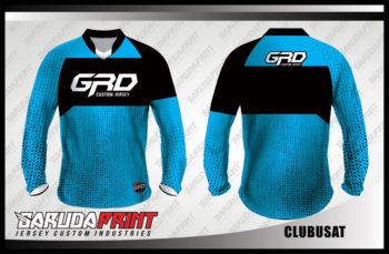 Baju Sepeda Printing Warna Biru Hitam Lengan Panjang Terbaru