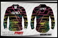 Kaos Sepeda Custom Warna Hitam Motif Garis-Garis Menyala