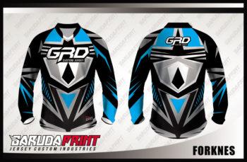 Baju Sepeda Printing Lengan Panjang Warna Biru Hitam Terbaru
