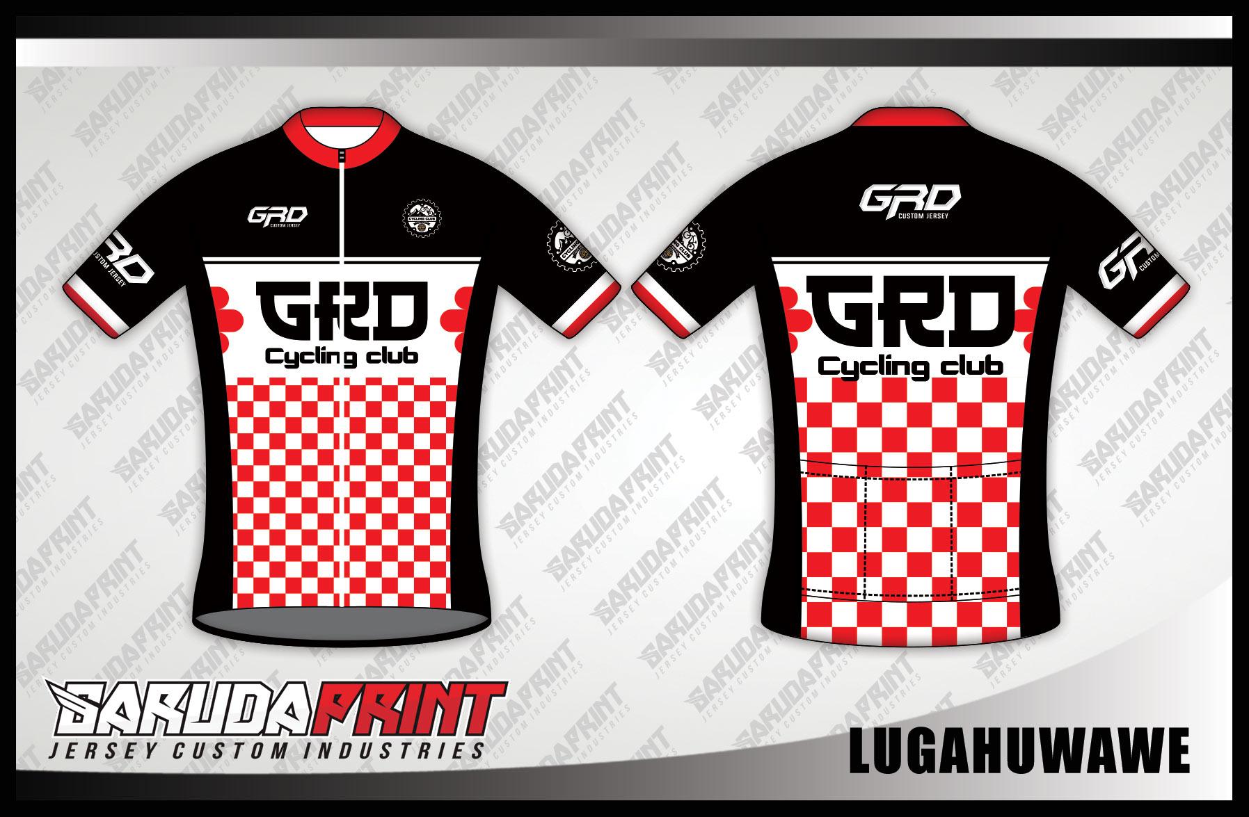 Jersey Sepeda Printing Warna Hitam Putih Merah Yang Dinamis