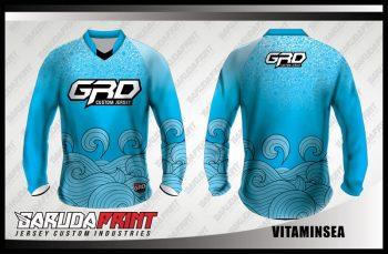 Baju Sepeda Full Print Warna Biru Laut Motif Bergelombang