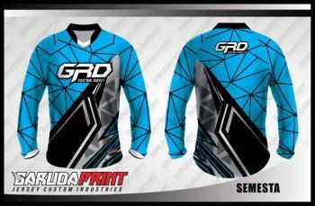 Baju Sepeda Printing Warna Biru Hitam Yang Elegant