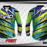 Jersey Sepeda Custom Lengan Panjang Warna Hijau Biru Motif Zig Zag